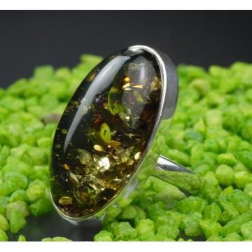 505.017 Danziger Bernstein Ring  dunkles Grün - Heilstein, Naturstein Unikat Esoterik