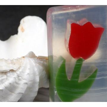 24 Aromatherapeutische Naturseife / Duftseife Rottulpe mit Kakaobutter
