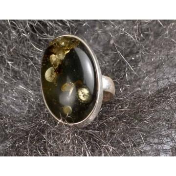 505.002 Danziger Bernstein Ring grün - Heilstein, Naturstein Unikat Esoterik