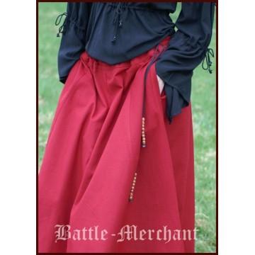 Mittelalterlicher Rock, weit ausgestellt, rot